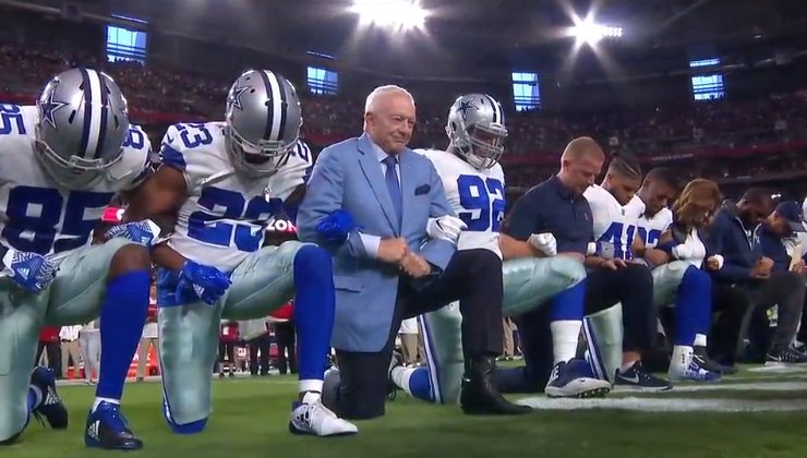 Jerry Jones and the #Cowboys #TakeAKnee before the National Anthem. ht...