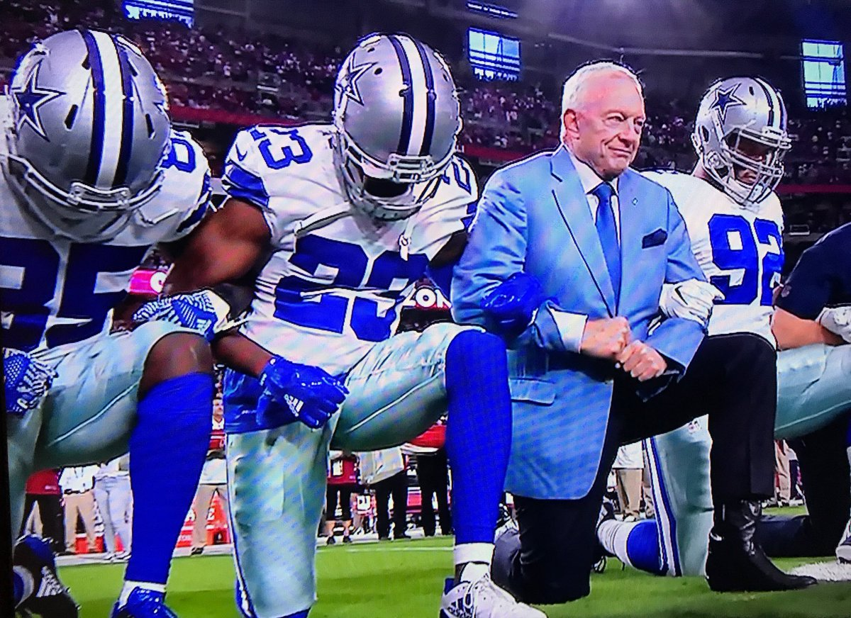 Cowboys, including owner Jerry Jones, take a knee before national anth...