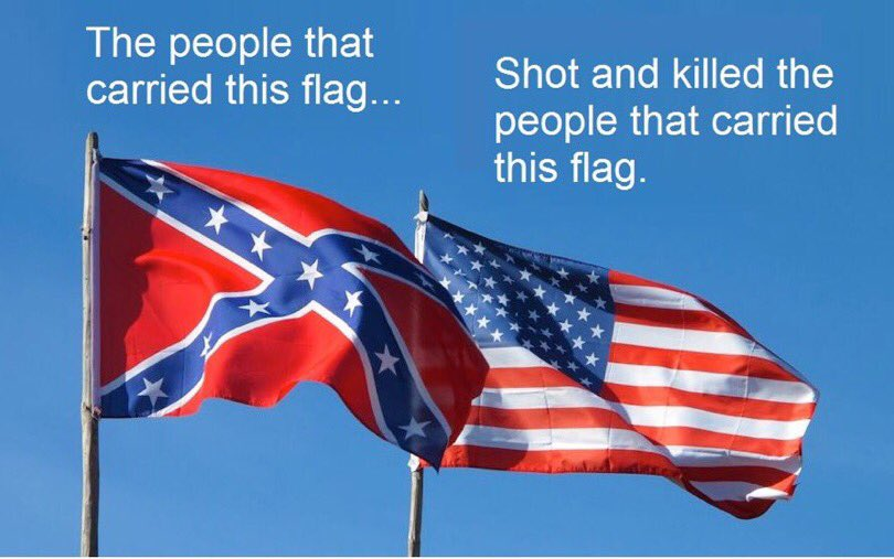 A little? Seriously?! &quot;Our&quot; flag is not there at all. This is glorifying traitors. #Confederate rebels fought against the #Union and lost.<br>http://pic.twitter.com/cLtuXDtfVQ