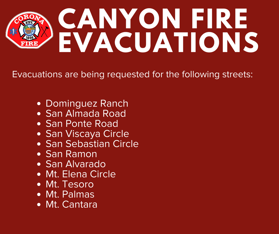 CORONA EVACUATIONS for the #CanyonFire on the following streets: https...