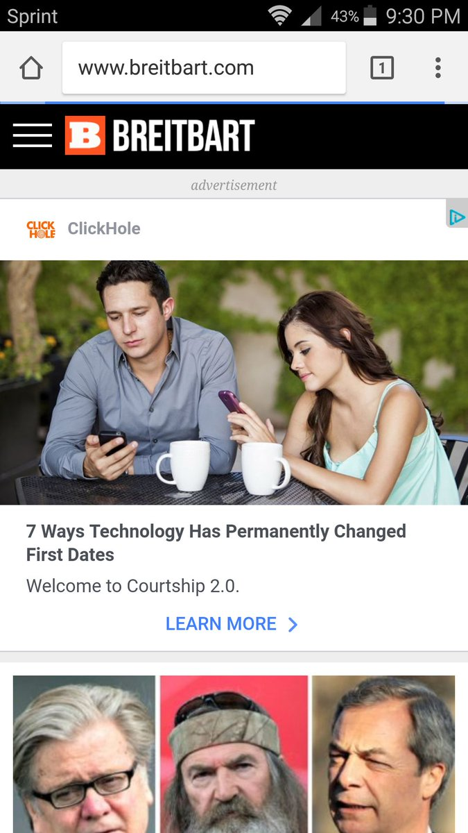 @ClickHole surely your ad on alt-right Breitbart is a mistake. Please check your Facebook audience network settings &amp; block. @slpng_giants<br>http://pic.twitter.com/CrqtyQlVX3