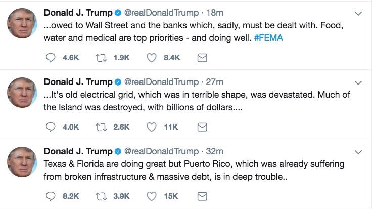 DONALD FUCKING TRUMP IS MAKING SNIDE COMMENTS ABOUT PUERTO RICO NOT PAYING BANK LOANS. THE FUCKING GALL
