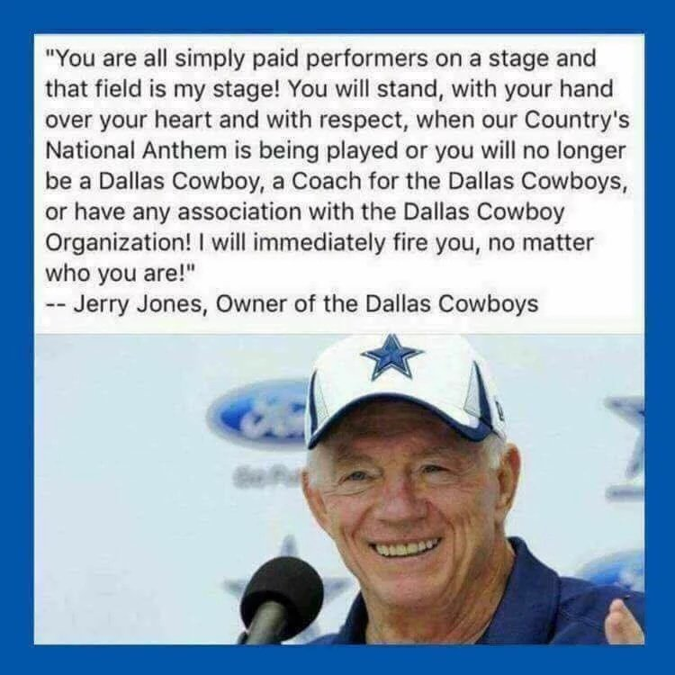 After researching a viral quote allegedly made by #Cowboys #JerryJones I found out it&#39;s #fakenews my apologies Mr Jones &amp; 2 those who RT&#39;d! <br>http://pic.twitter.com/3Yyn8j0pGx