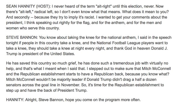 Steve Bannon panics and changes the subject when Sean Hannity brings up the alt-right  http:// mm4a.org/ZwB  &nbsp;  <br>http://pic.twitter.com/R4KuVNlm1H