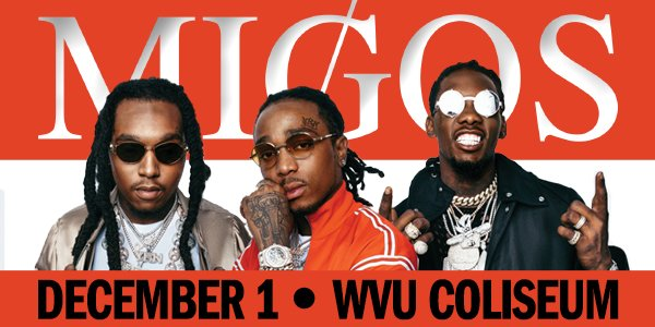 ICYMI: @Migos are coming to #WVU Coliseum Dec. 1. Tickets go on sale Friday at 10am.  http:// bit.ly/2hv6t4C  &nbsp;  <br>http://pic.twitter.com/7qVn3hu0eA