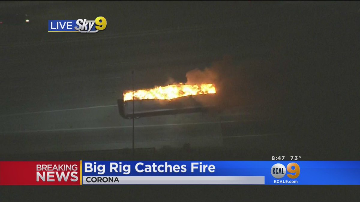 BREAKING: Big rig catches fire on EB 91 Freeway in Corona as #CanyonFi...