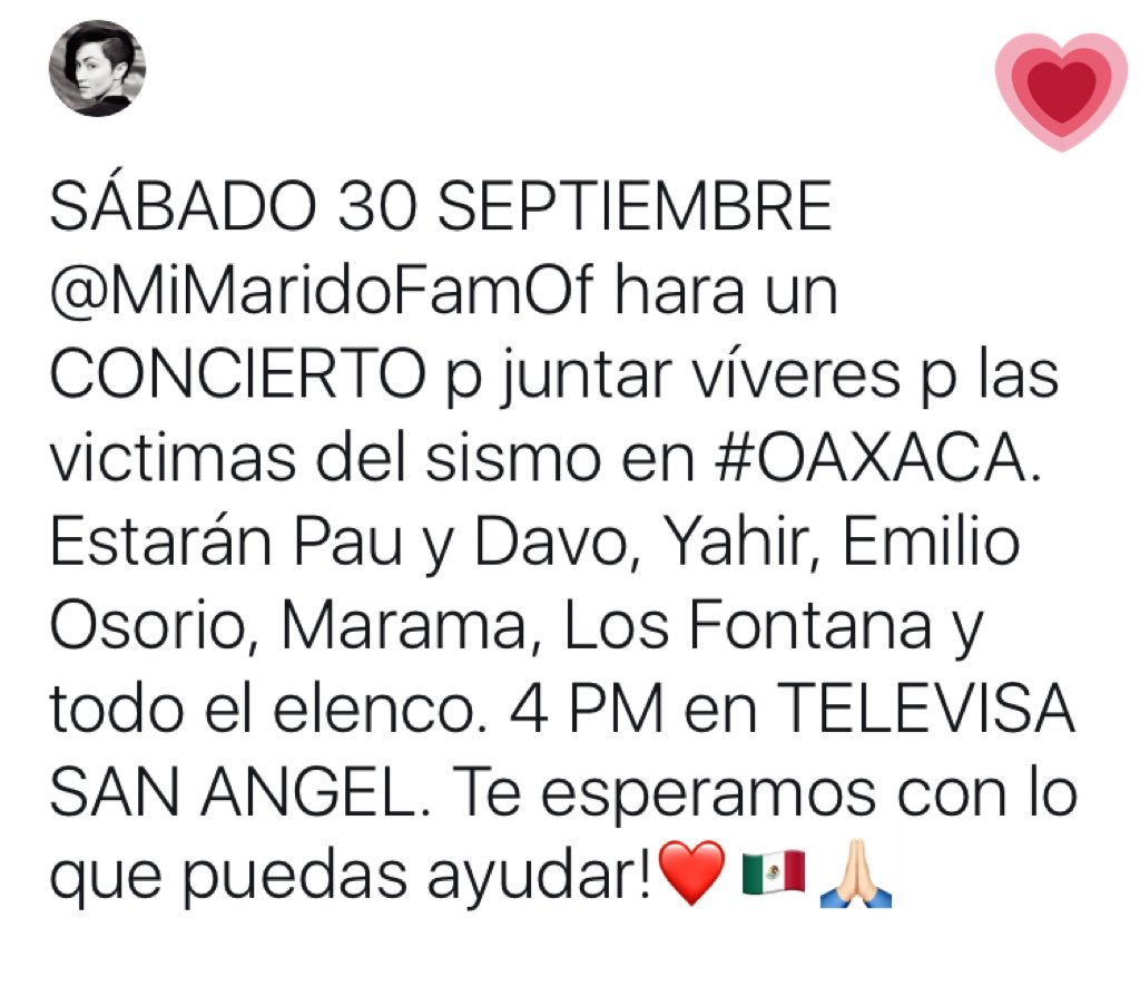 #MexicoNosNecesita 🇲🇽sábado 30 septiembre 4 PM ❤️ https://t.co/N9YCHmk...