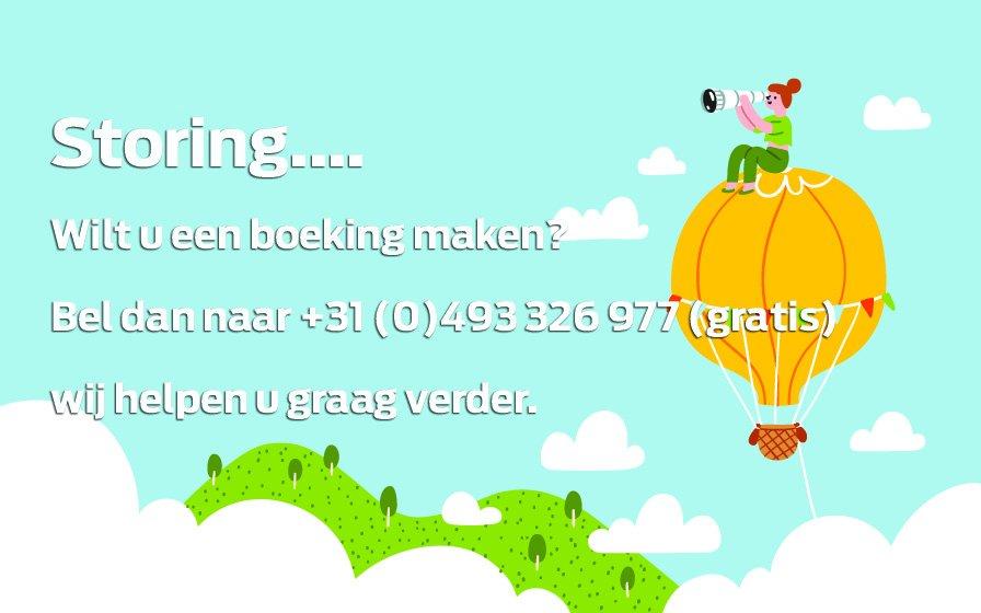 Momenteel ervaren wij een storing bij het online boeken.  Bel voor het maken van een boeking naar +31 (0)493 326 977 (gratis).