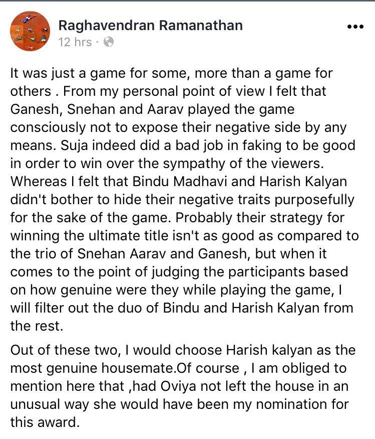 Yet again, @iamharishkalyan makes his fan proud with his honesty and his genuine innocence #harishTribe #biggbosstamil #bigbosstamil #love <br>http://pic.twitter.com/SJfmOK4shj