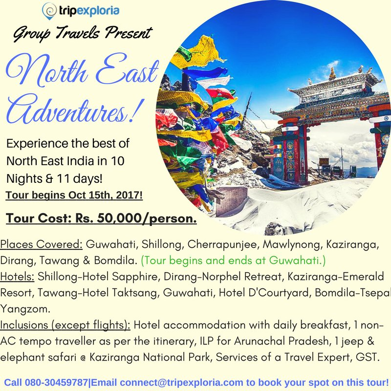 If you want to visit India&#39;s #NorthEast, this is the #perfect #opportunity! Book your spot on this #Tour soon! Trip begins 15th October&#39;17.<br>http://pic.twitter.com/EcxTqLKMRy
