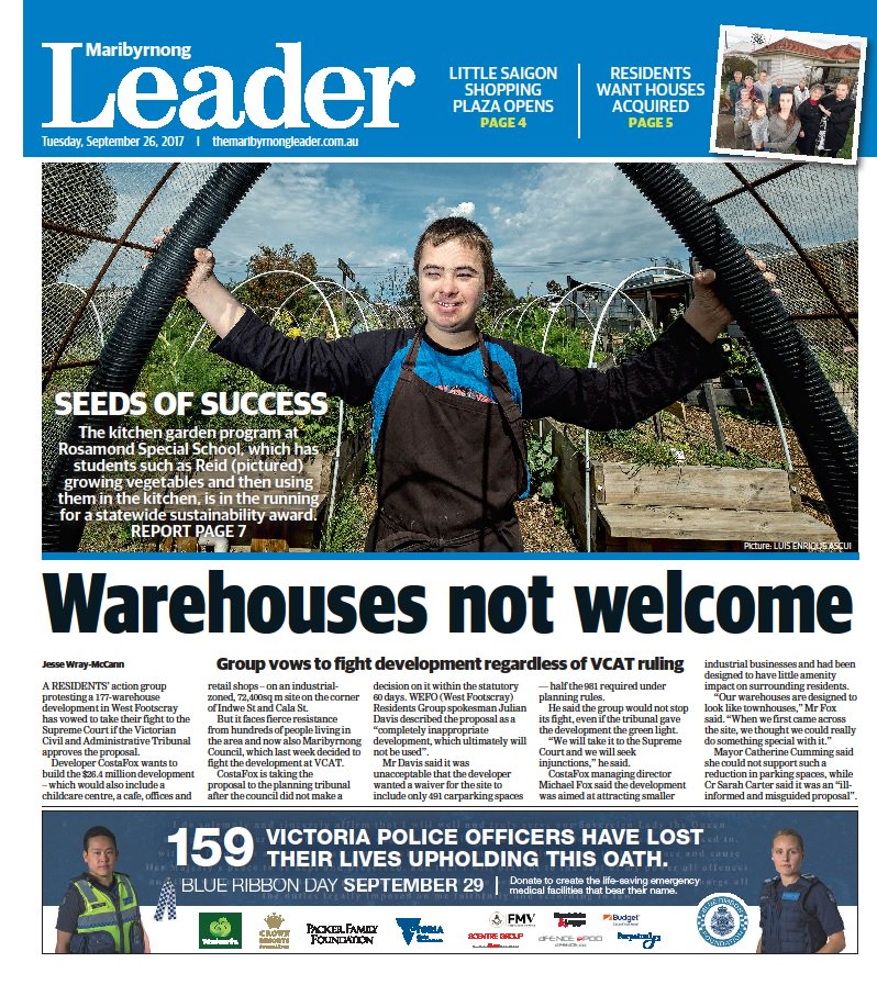 In today's @maribyrnongldr, legal action threat over warehouse proposal & Rosamond Special School up for state award https://t.co/A7W2CdYmnL https://t.co/ZmEoCq4SG3