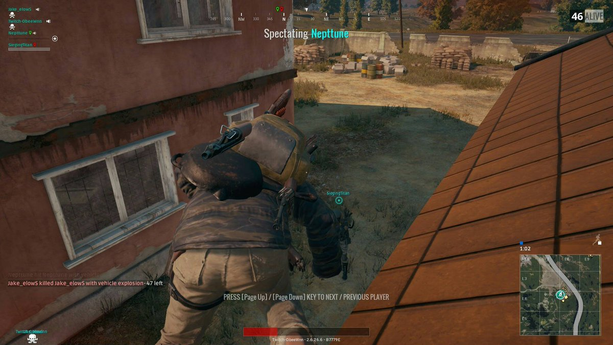 Lol! He got blown all the way up to the roof! #MLG #PUBG<br>http://pic.twitter.com/wTdJy6hDAJ