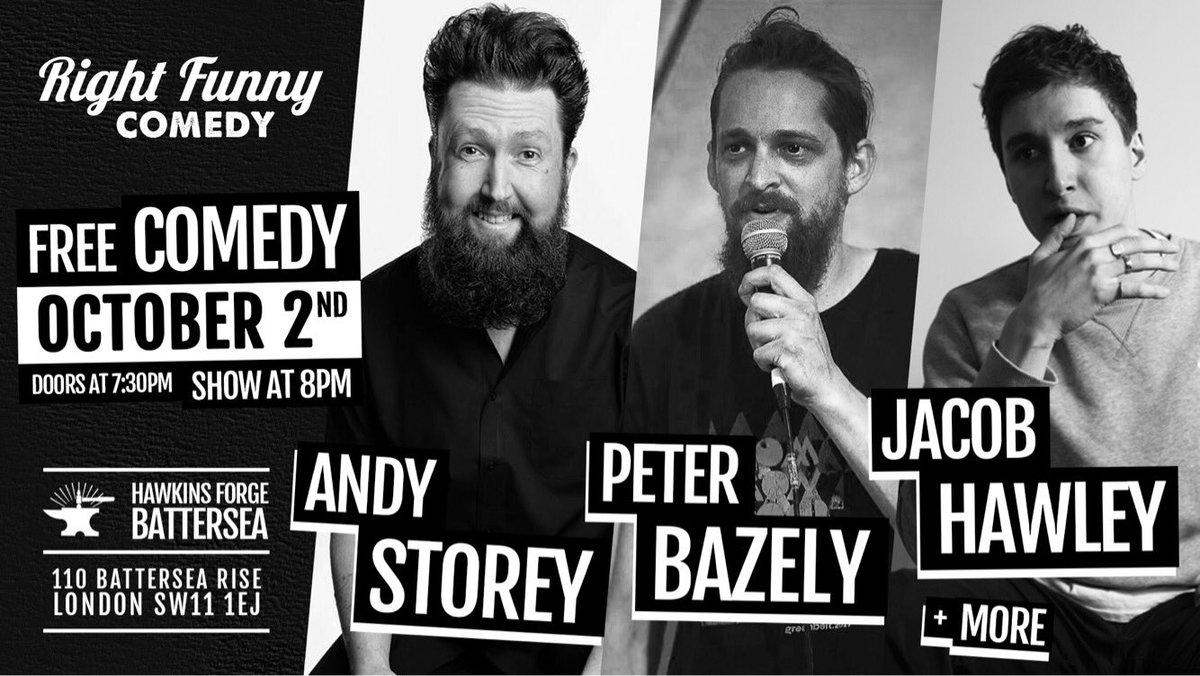 That&#39;s right #Battersea we&#39;re back at it this Monday with another fantastic line-up of #FreeComedy at @hawkinsforge - C U at 7:30pm #comedy <br>http://pic.twitter.com/4j97oZ1wb5