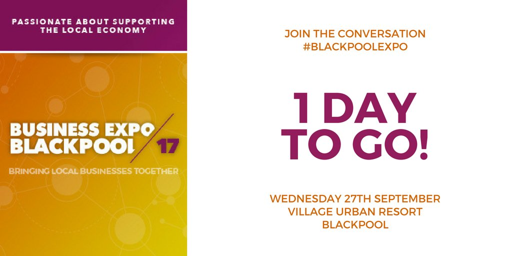 Good Morning Expo-ers! It&#39;s only #BlackpoolExpo tomorrow! #1MoreSleep #Networking #Seminars #Business #Blackpool  https://www. eventbrite.com/e/blackpool-bu siness-expo-2017-tickets-28953599997?aff=TW &nbsp; … <br>http://pic.twitter.com/Walet4ksug