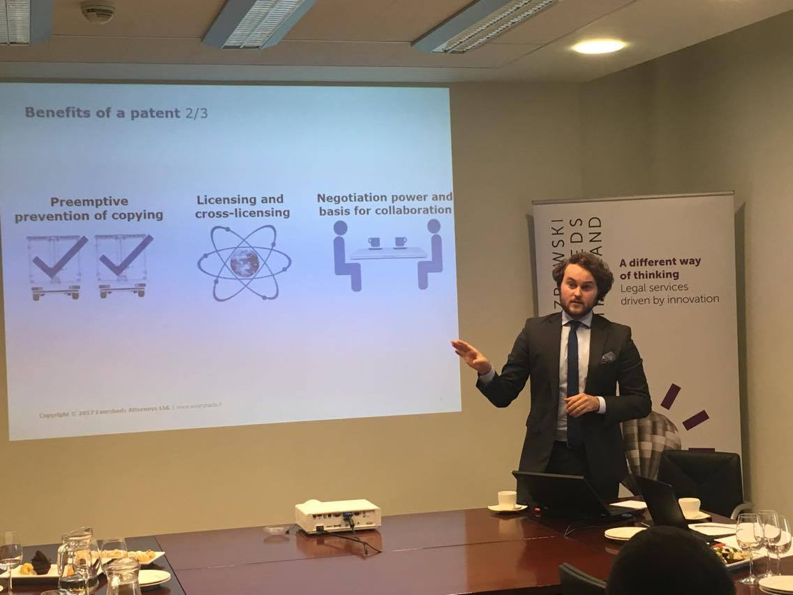 Why #patents are important to your business - a presentation by Akseli von Koch, our guest speaker from @Eversheds_FIN<br>http://pic.twitter.com/e6iWlFjASI