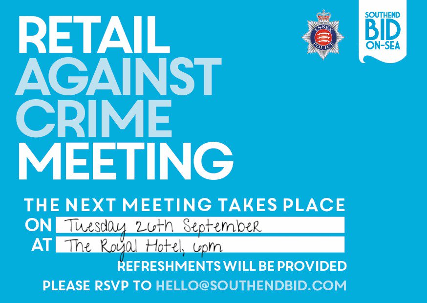 The #Southend #Retail Against #Crime #Meeting is tonight, 6pm @royalhotelss1. RSVP: hello@southendbid.com. #event<br>http://pic.twitter.com/Ra0Wyqh19Y