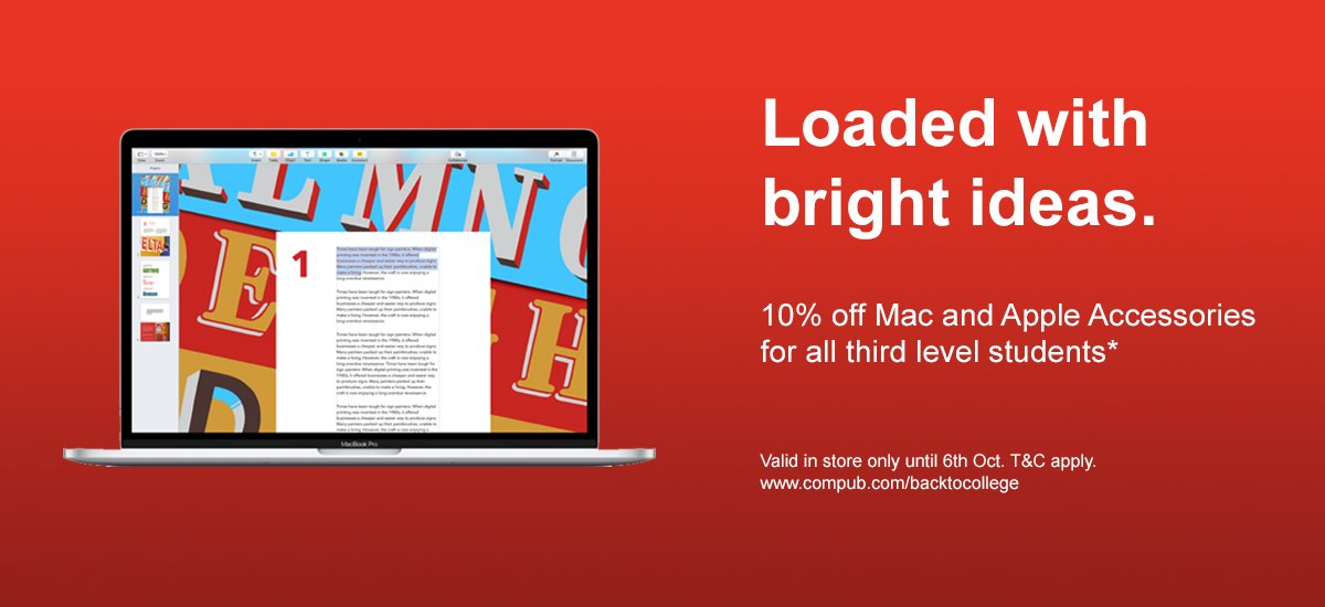 Still time to catch our #BacktoCollege promo: #Students get 10% off Apple Mac and all Apple Accessories in store!  https://www. compub.com/backtocollege  &nbsp;  <br>http://pic.twitter.com/PNbsKLp5qw