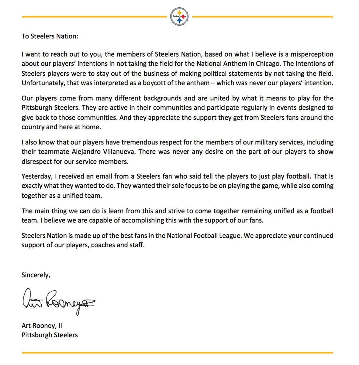 pittsburgh steelers on twitter a letter from steelers president art rooney ii to steelersnation