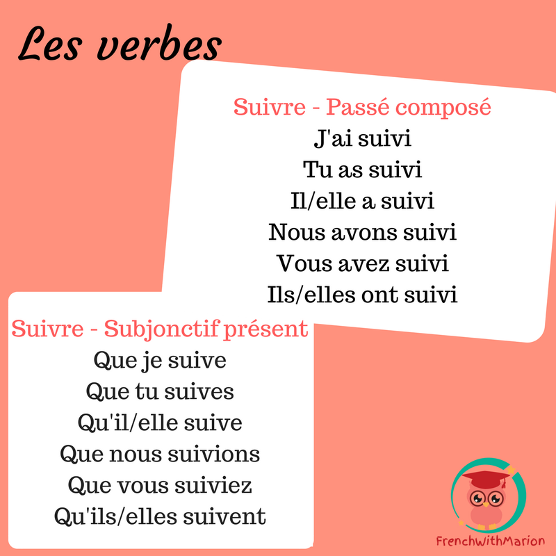 Frenchwithmarion On Twitter Le Verbe De La Semaine Suivre To Follow Conjugaison Verb Suivre Learnfrench