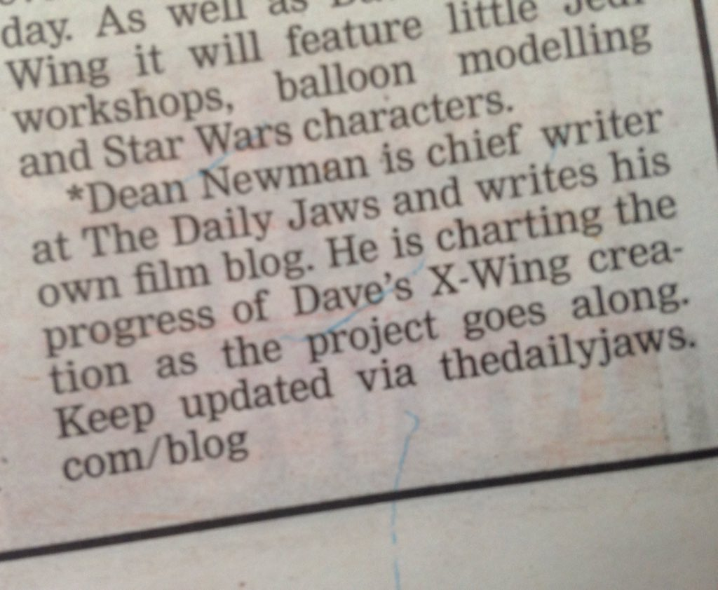Congratulations to our chief writer @Loxley_1975 who got a mention in the @TheEchoOnline #jaws #writer #blog #news #xwing #starwars<br>http://pic.twitter.com/ZknBKgqZzo