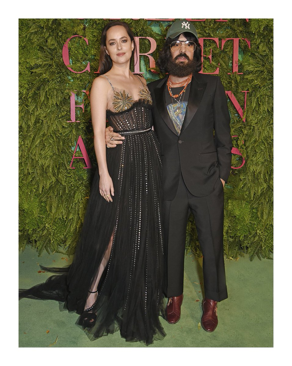 Seen at #GCFAItalia: #DakotaJohnson in an organic #Gucci silk tulle dress & accessories and #AlessandroMichele.
