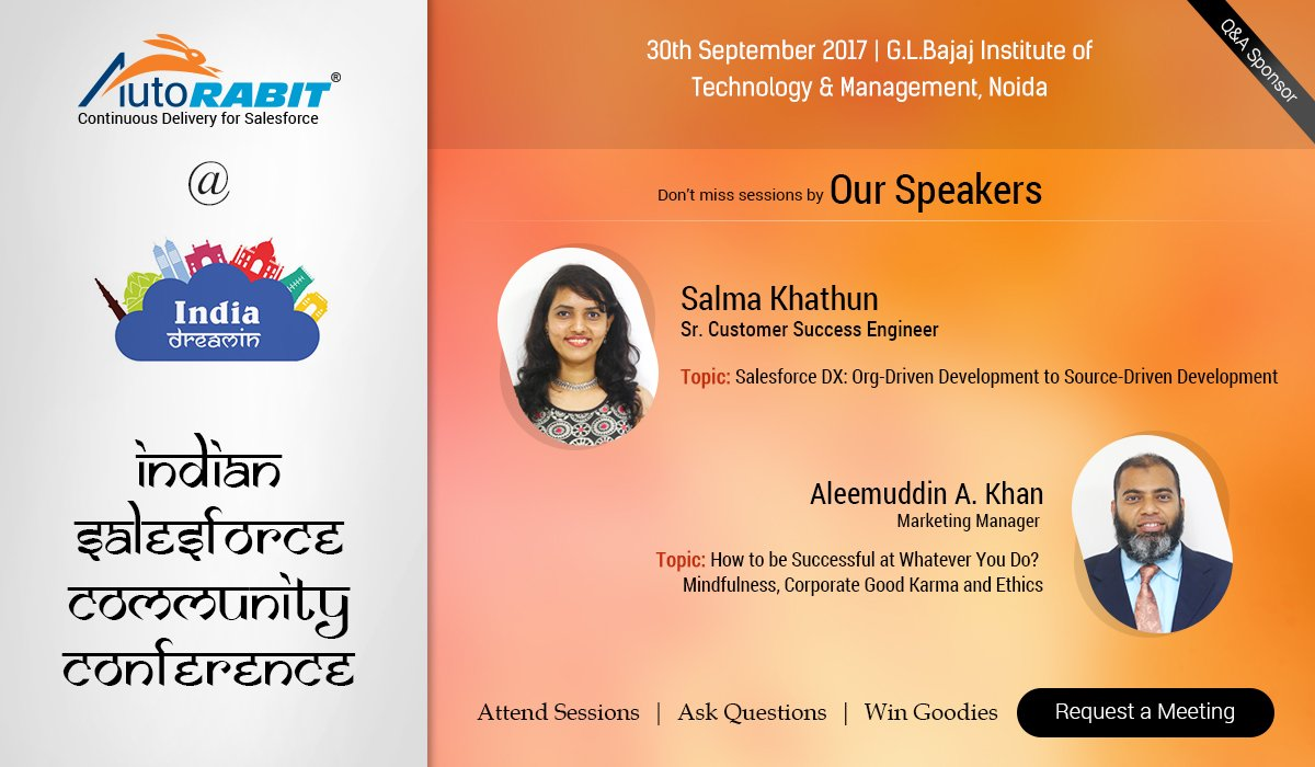 Come, attend #AutoRABIT sessions by our speakers. Some more energized happenings at #IndiaDreamin17 :) #Salesforce  @salma13391 @alkhaaan50<br>http://pic.twitter.com/Sv4IhExtmZ