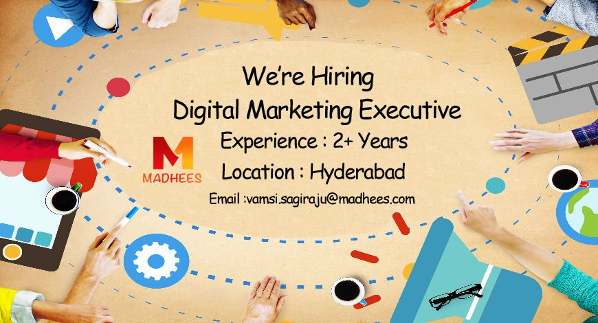 #Madhees is Looking for a #DigitalMarketingExecutive with 2+ Years of Experience. Share your CV to vamsi.sagiraju@madhees.com<br>http://pic.twitter.com/zhktPY6qxR