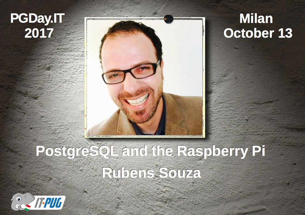 With &quot;#PostgreSQL and the @Raspberry_Pi &quot; @rubens_ts  at #PGDayIt #2017 #Milan #October_13 #OpenSource  https:// goo.gl/2ubUeE  &nbsp;  <br>http://pic.twitter.com/Jf46WoeWxe