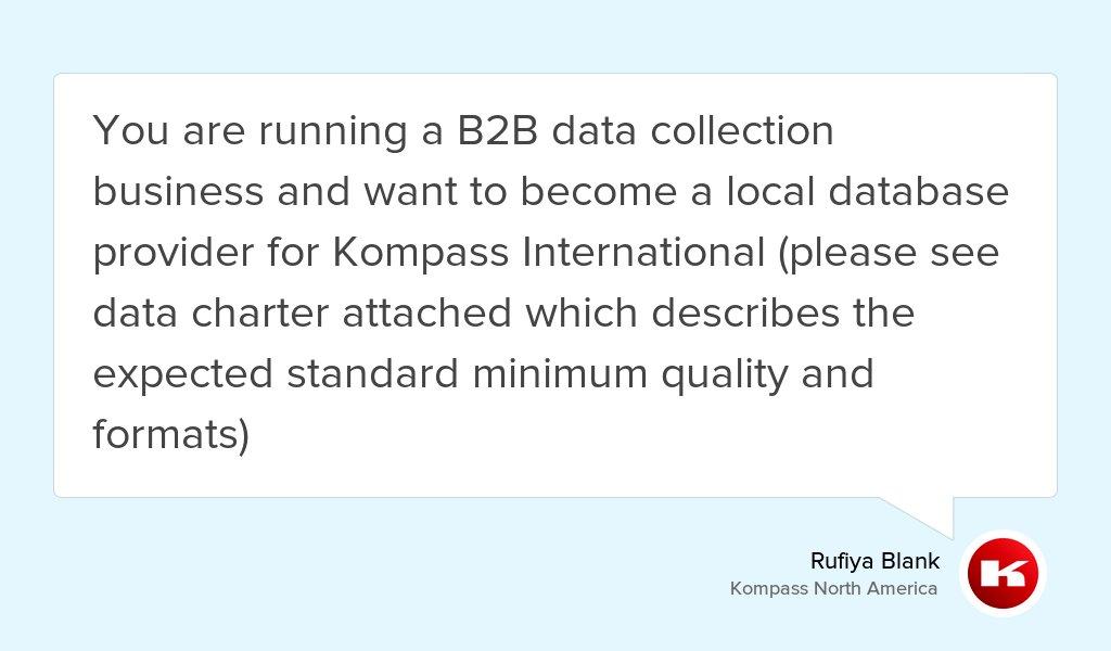 Hot off the press: Partner with Kompass International  https:// goo.gl/crDhNm  &nbsp;   #b2b #Digital #solutions #DataCollection #Marketing<br>http://pic.twitter.com/fQtJpQtNCK