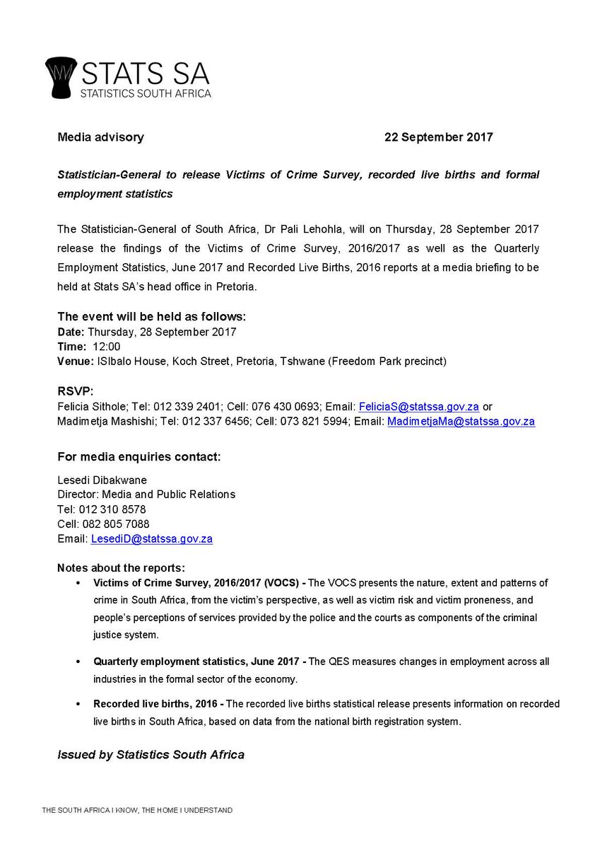 Join us Thursday at 12:00 as we take a look at the Victims of #Crime Survey, recorded live births &amp; formal #Employment statistics #StatsSA<br>http://pic.twitter.com/UadtZs42Ps