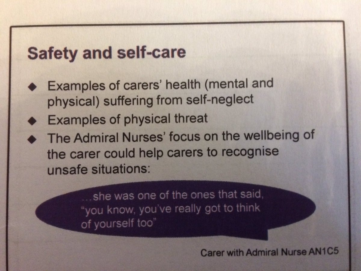 A critical finding @SPRU #carerstudy &quot;@carers of #pwd who feel unsafe in their caring role use more acute services&quot;. Needs further analysis! <br>http://pic.twitter.com/jrtsqV9JLc