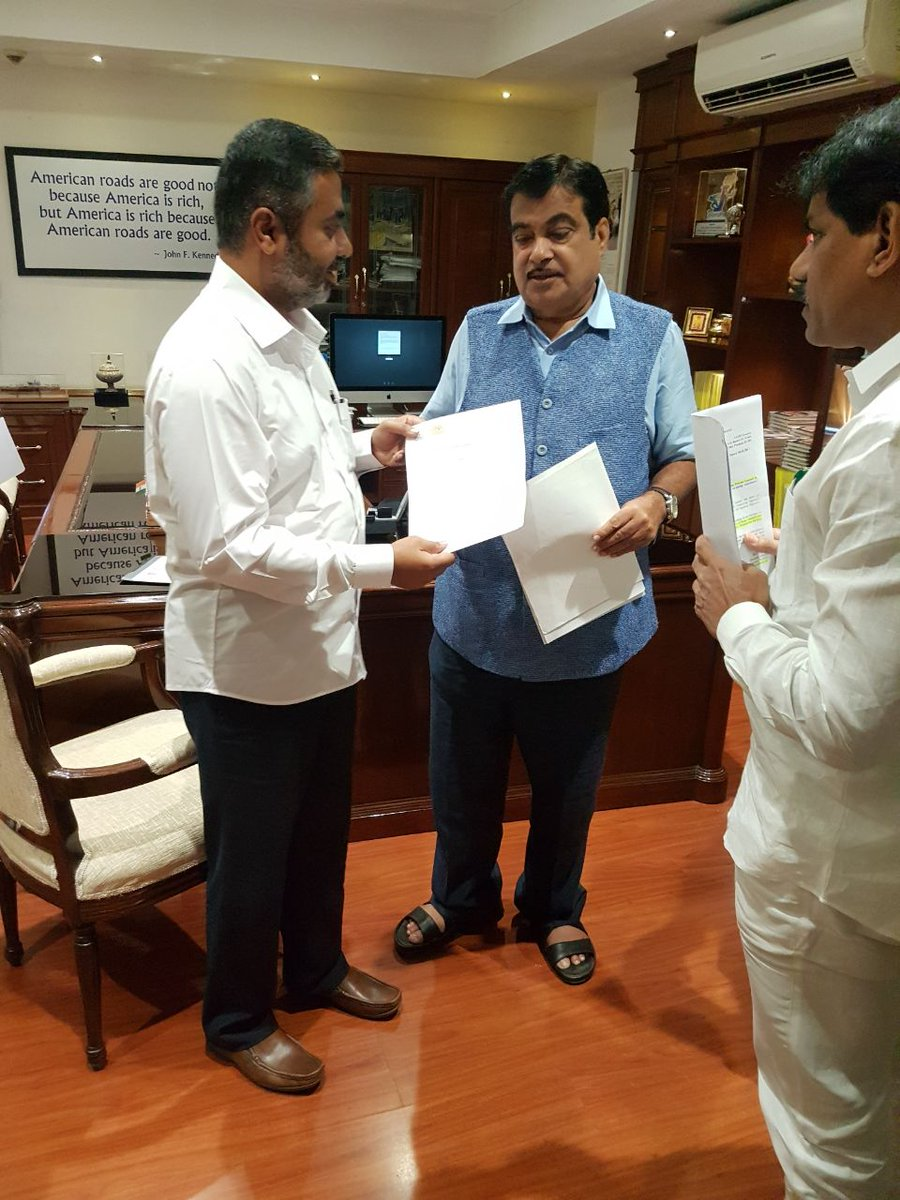 Met Hon. @nitin_gadkari ji today for Nar-Par project also requested for tunnel in Bhavadbari ghat #RahulAher #Chandwad #Deola #MLA #BJP<br>http://pic.twitter.com/oQDtJZsZCL