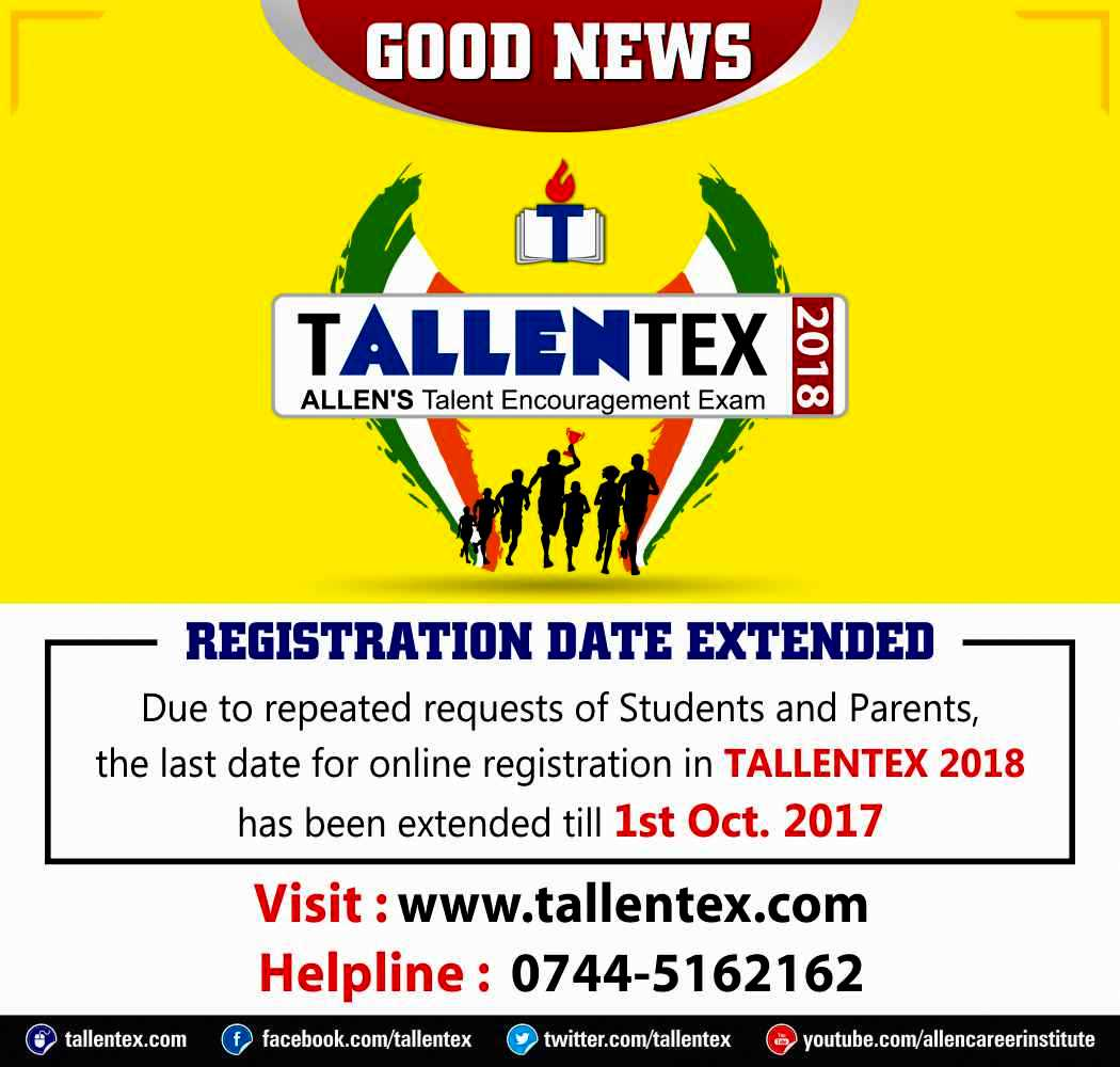 #GoodNews : Last Date for Online Registration in #TALLENTEX2018 has been extended. Apply Online  http://www. tallentex.com  &nbsp;   #tallentex #talent <br>http://pic.twitter.com/ePD0caOXKx