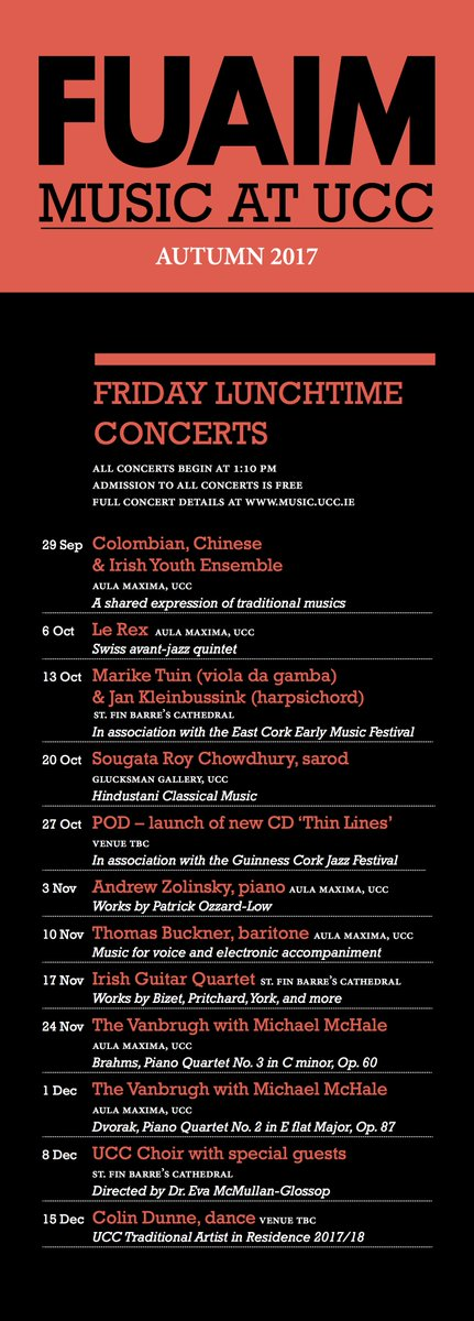 Just in: brochure for FUAIM concerts &amp; research seminars Autumn 2017. I&#39;m on Nov 23! #LoveIrishResearch #Ethnomusicology #UCCresearch #music<br>http://pic.twitter.com/OHpWd9Iqyq