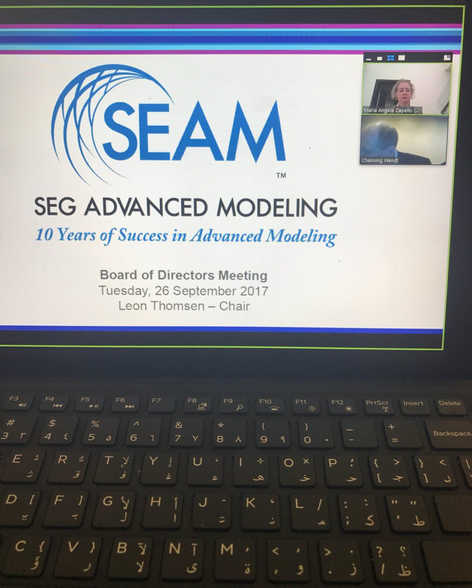 I am now remotely attending the Board of Directors meeting of SEAM during SEG AM. Chairing, Dr. León Thomsen @SEG_org #geophysics #10Y #SEAM<br>http://pic.twitter.com/GVIl9RFwEF