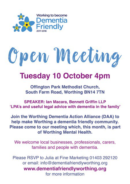 Looking for #legal advice around #dementia? Come to the next @DementiaFriends meeting with guest speaker Ian Macara from @bennettgriffin<br>http://pic.twitter.com/8oPui8dUOB