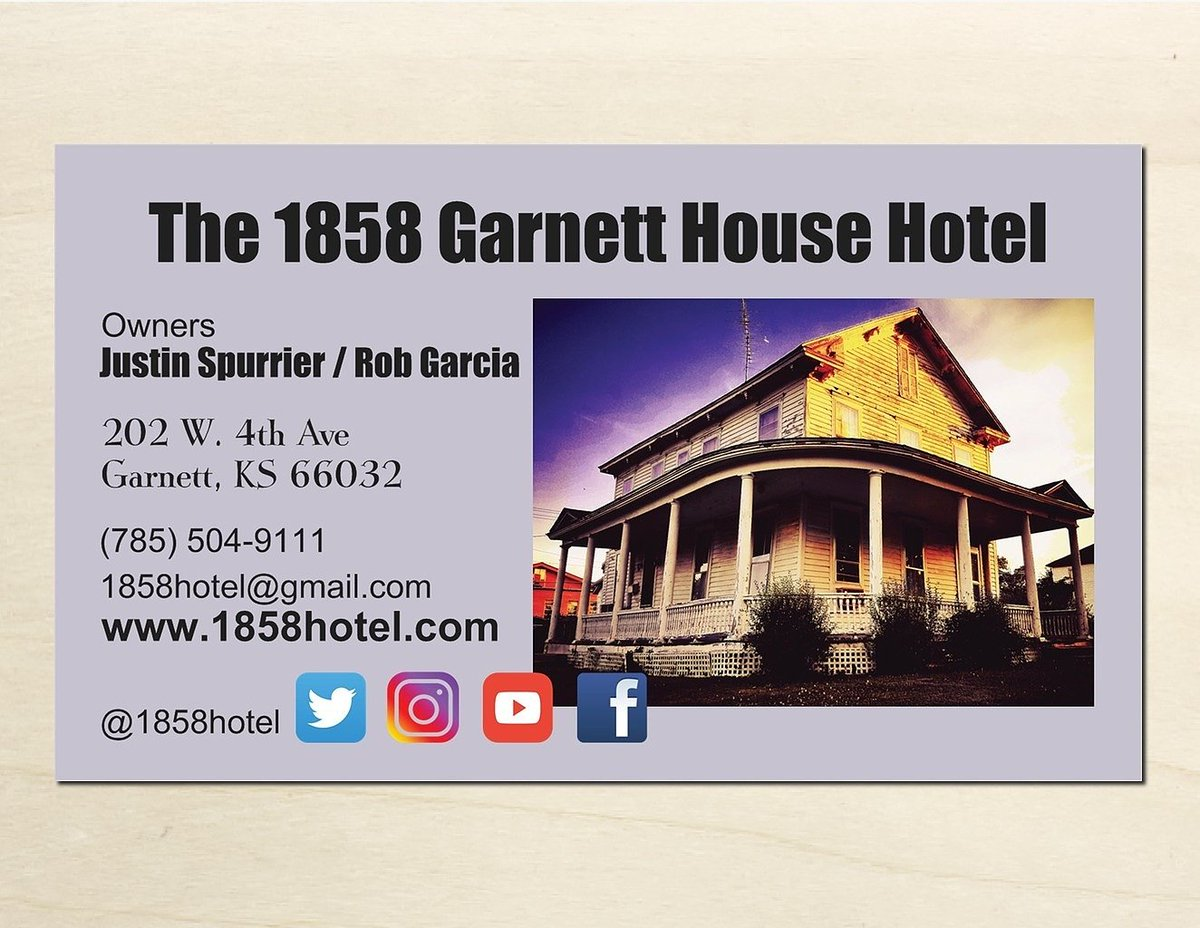 1858 Garnett Hotel On Twitter Our Business Card Should You Need To Contact Us Outside Of Thanks Everyone