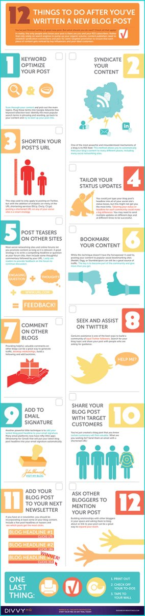 12 things to do after you&#39;ve written a new blog post #infographic <br>http://pic.twitter.com/ywU7iecad6