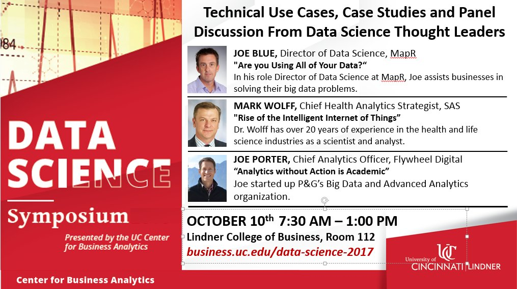 #DataScience Symposium @LindnerCollege Oct 10 - 3 Keynotes +panel discussion from industry leaders   http:// bit.ly/2xxtStS  &nbsp;  <br>http://pic.twitter.com/DV1kXk2gMj