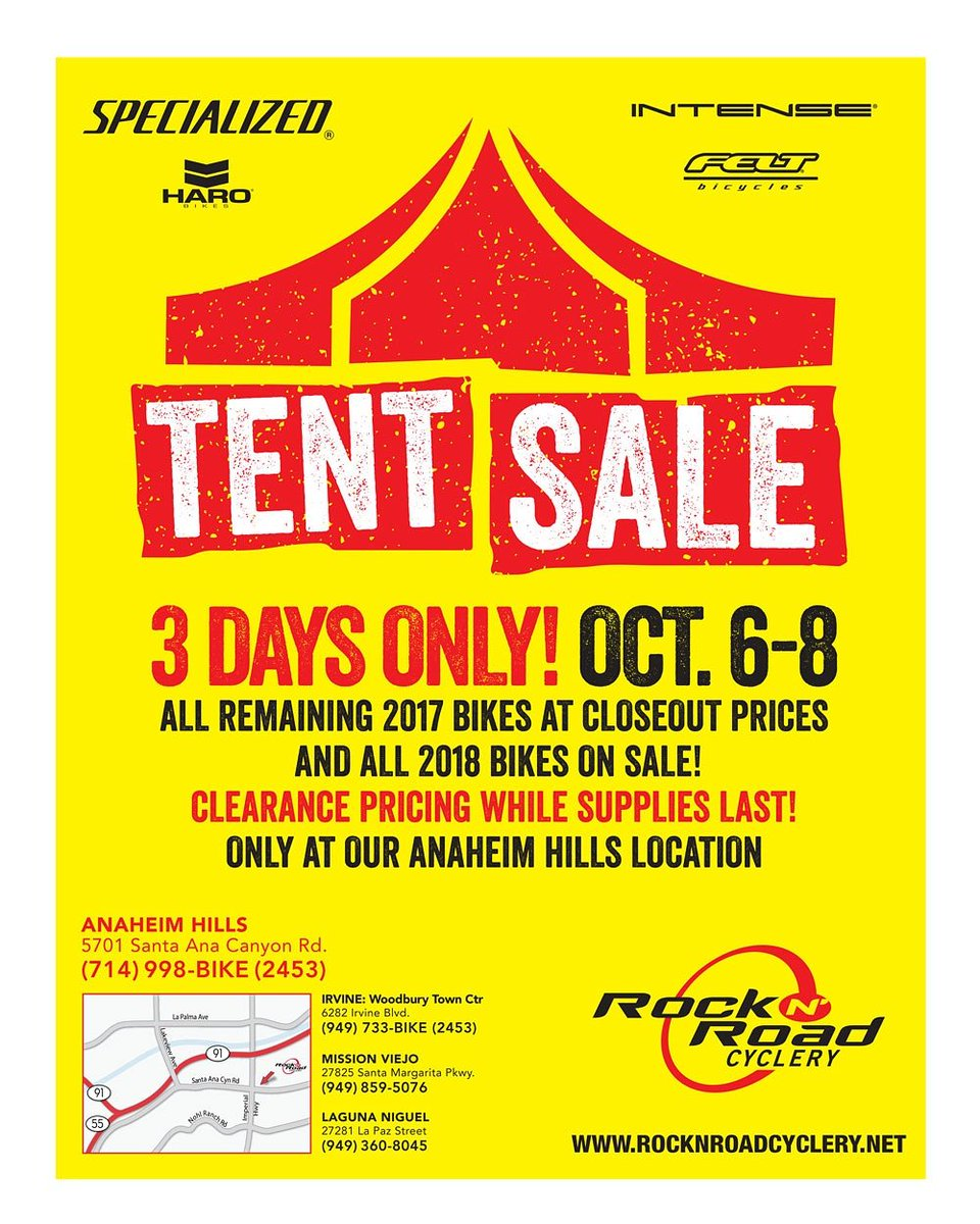 Rock N Road Cyclery On Twitter Our Tent Sale Is Coming A Week