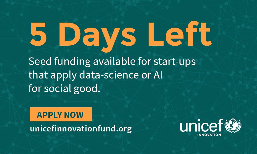 5 DAYS LEFT. Calling all start-ups with #datascience #AI tech solutions. Apply for seed funding to our Fund now:  http:// bit.ly/dataAIfund  &nbsp;  .<br>http://pic.twitter.com/WoDiqmNusU