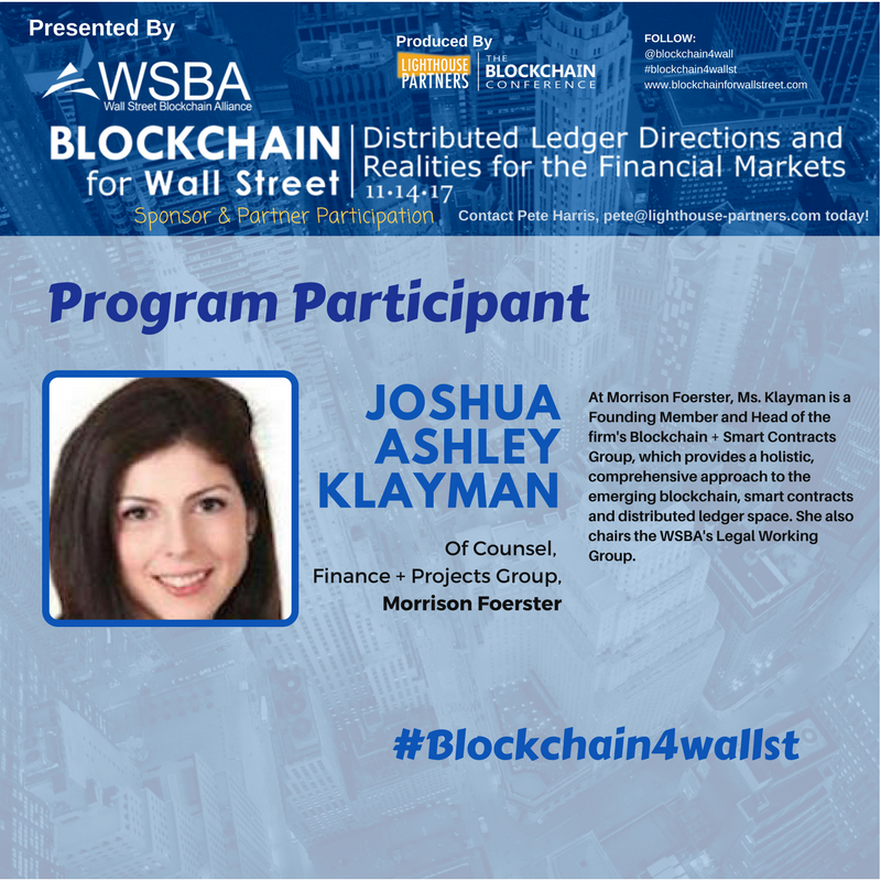 Delighted to have Joshua A. Klayman of @MoFoLLP join #Blockchain4WallSt program.  http://www. blockchainforwallstreet.com/#education-pro gram &nbsp; …  #smartcontracts #blockchain #legal <br>http://pic.twitter.com/qaDoGg2v4V
