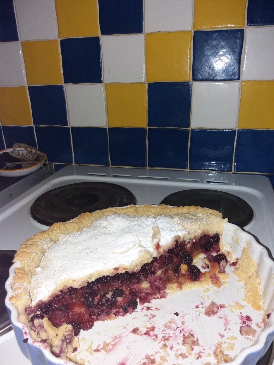 Half a blackberry pie.