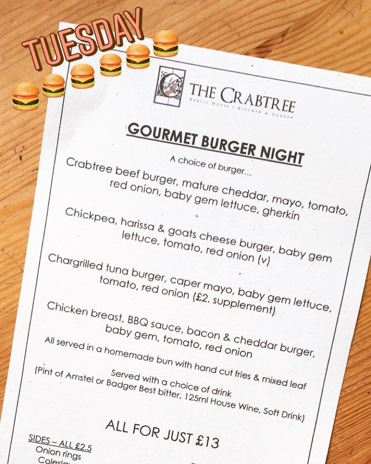 the crabtree on twitter ooooooo yeah crabtree burgernight