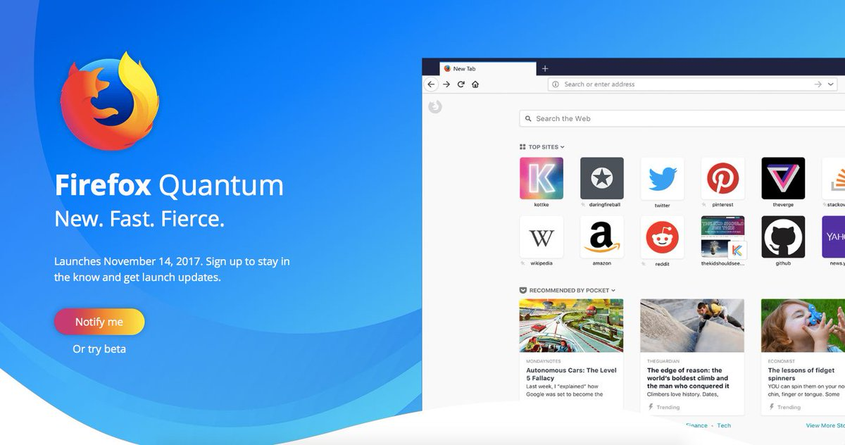#Firefox Quantum Next Generation Web Browser Launches November 14, Beta Out Now  https:// buff.ly/2fPs6gh  &nbsp;   @firefox @mozilla #opensource <br>http://pic.twitter.com/126TzafDP2