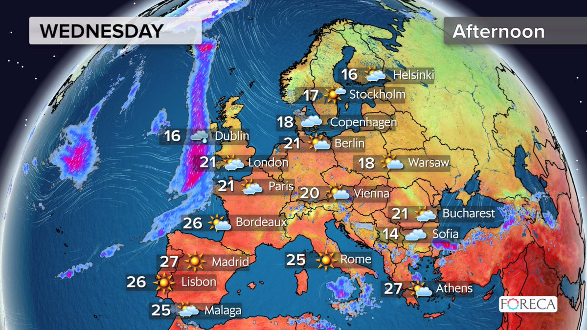 Foreca On Twitter Tomorrow S Weather Forecast For Europe Mostly