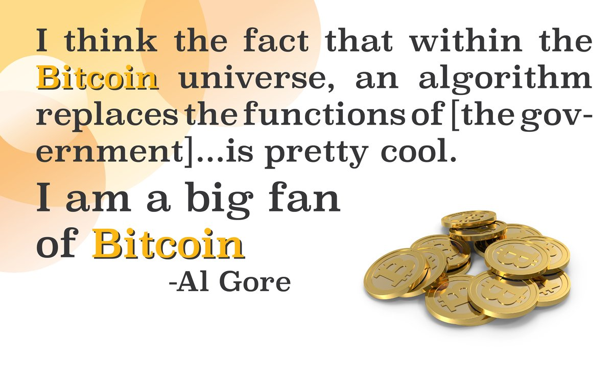 #bitcoin replaces functions of government. - Al Gore. What&#39;s your favorite bitcoin related quote? Share w/ us! #tuesdaythoughts #blockchain <br>http://pic.twitter.com/daubI38aHo