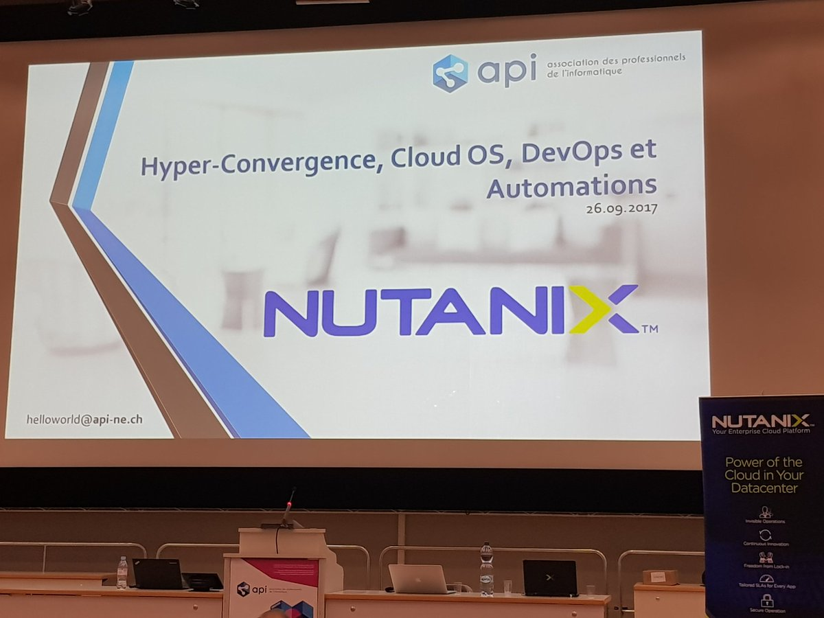 We are ready to start the #Nutanix presentation with #Calm #neuchatel #LeLocle with #api @tuxtof<br>http://pic.twitter.com/Fb4eMHfiOg