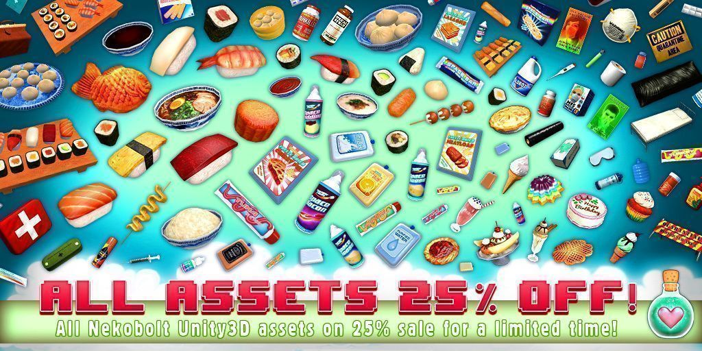 Our #unity3d assets are 25% OFF at the #AssetStore:  http:// bit.ly/NekoShop  &nbsp;  ! Perfect for #gamedev, #indiedev, #unitydev &amp; #VR! <br>http://pic.twitter.com/07mxjisvOO