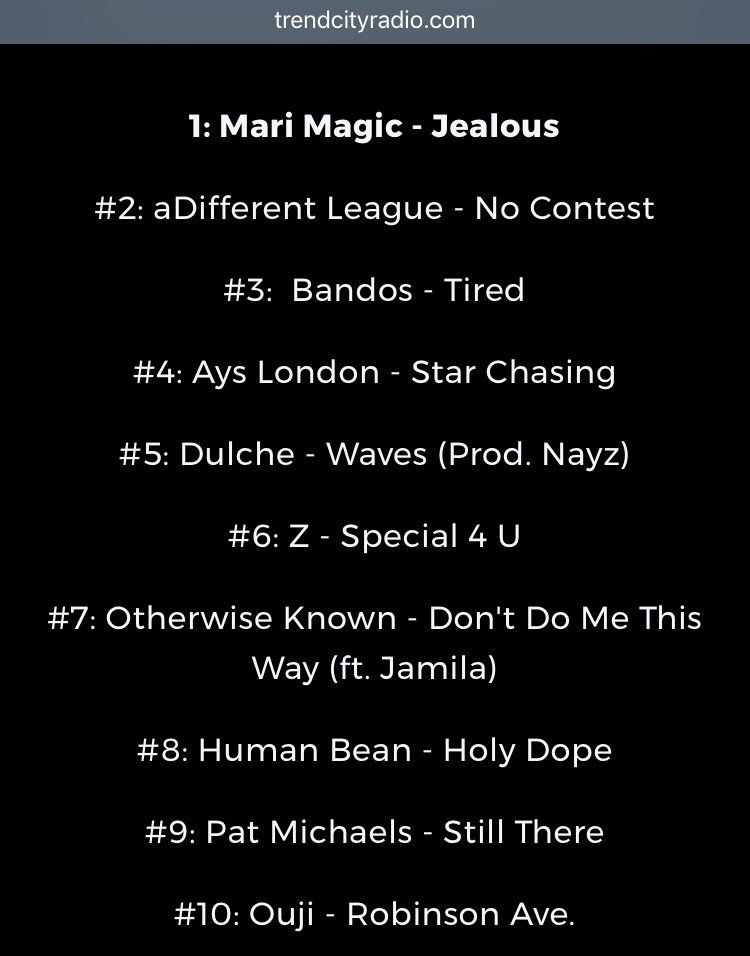 Here&#39;s @TrendCityRadio Top 25 list from last Sunday, look whose in the top 10 . Keep listening and downloading my song. #stillthere #top10 <br>http://pic.twitter.com/kveCnIY3vr